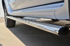 Пороги труба 75х42 овал с проступью для Nissan Terrano 2014-