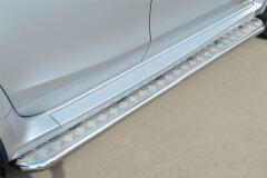 Пороги труба D42 с листом для Nissan Terrano 2014-