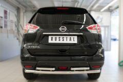 Защита заднего бампера D63 (дуга) D42х2 (дуга) для Nissan X-Trail 2015-