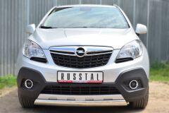 Защита переднего бампера 75х42 (дуга) для Opel Mokka 2013-