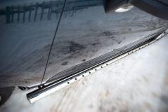 Пороги труба D75х42 овал с проступью для Peugeot 3008 2009-