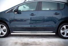 Пороги труба D63 (вариант 2) для Peugeot 3008 2009-