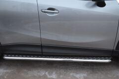 Пороги труба D42 с листом для Mazda CX-5 2011-