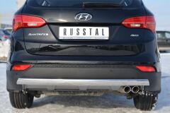 Защита заднего бампера 75х42 овал для Hyundai Santa Fe 2012-2015