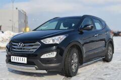 Защита переднего бампера 75х42 / 75х42 овал для Hyundai Santa Fe 2012-2015