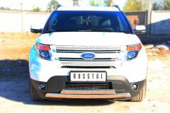 Защита переднего бампера 75х42 / 75х42 овал (дуга) для Ford Explorer V 2012-