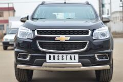 Защита переднего бампера 75х42 (дуга) 75х42 (дуга) для Chevrolet Trailblazer 2012-