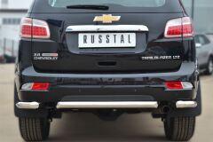 Защита заднего бампера уголки D63 (секции) для Chevrolet Trailblazer 2012-