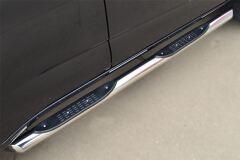Пороги труба D76 с накладкой (вариант 1) для Chevrolet Trailblazer 2012-