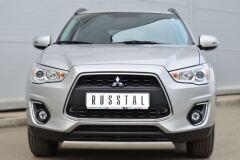 Защита переднего бампера 75х42 овал для Mitsubishi ASX 2012-
