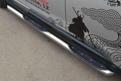 Пороги труба D76 с накладкой (вариант 1) для Mitsubishi ASX 2012-