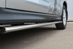 Пороги труба D75х42 овал с проступью для Mitsubishi ASX 2012-