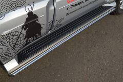 Защита порогов D42 (1 вариант) для Mitsubishi Pajero 4 2012-2013