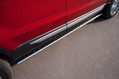 Пороги труба 75х42 овал с проступью для Land Rover Range Rover Evoque Prestige u Pure 2011-