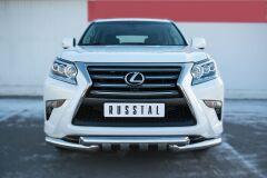 Защита переднего бампера D76 (дуга) D76х2 (дуга)+клыки для Lexus GX 460 2014-