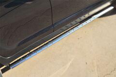 Пороги труба 75х42 овал с проступью для Kia Sportage 2010-2015