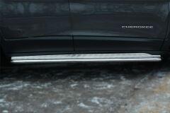 Пороги труба D42 с листом для Jeep Cherokee 2014-