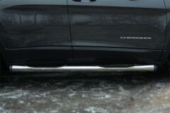 Пороги труба D76 с накладкой (вариант 2) для Jeep Cherokee 2014-