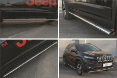 Пороги труба 75х42 овал с проступью для Jeep Cherokee Trailhawk 2014-