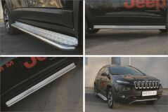 Пороги труба D42 с листом для Jeep Cherokee Trailhawk 2014-