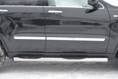 Пороги труба D76 с накладкой (вариант 1) для Jeep Grand Cherokee 2012