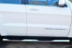 Защита порогов D76 с накладкой (вариант 3) для Jeep Grand Cherokee 2013-