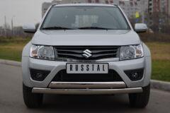 Защита переднего бампера D75х42/75х42 овалы(дуга) для Suzuki Grand Vitara 3дв 2012-