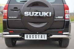 Защита заднего бампера уголки D63/42 для Suzuki Grand Vitara 5дв 2012-