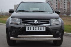 Защита переднего бампера D75х42/75х42 овалы(дуга) для Suzuki Grand Vitara 5дв 2012-