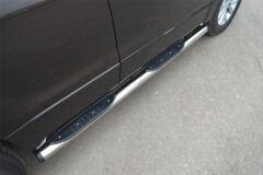 Пороги труба D76 с накладками (вариант 2) для Suzuki Grand Vitara 5дв 2012-