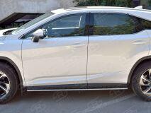 Пороги труба 75х42 овал с проступью для Lexus RX200t 2015-