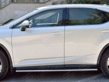 Пороги труба 120х60 овал с проступью для Lexus RX200t 2015-