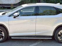 Пороги труба D42 С листом (Лист нерж, проф. нерж)(Вариант3) для Lexus RX200t 2015-