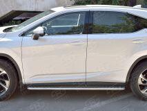 Пороги труба D42 С листом (Лист алюм, проф. нерж)(Вариант1) для Lexus RX200t 2015-