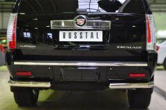 Защита заднего бампера уголки D76(секции) для Cadillac Escalade 2007-2015