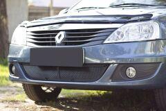 Защитная сетка переднего бампера Renault Logan 2010-2013
