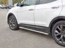 Пороги труба D63 секции (вариант 3) для Hyundai Santa FE Premium 2015