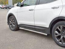 Пороги труба D63 секции (вариант 1) для Hyundai Santa FE Premium 2015