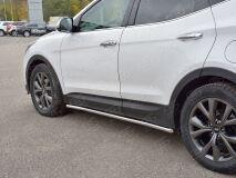 Пороги труба D42 секции (вариант 1) для Hyundai Santa FE Premium 2015