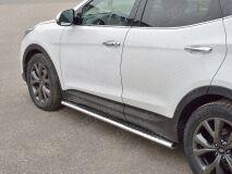 Пороги труба 120х60 овал с проступью для Hyundai Santa FE Premium 2015