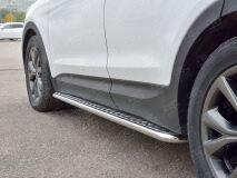 Пороги труба D42 С листом (Лист алюм, проф. нерж)(Вариант1) для Hyundai Santa FE Premium 2015