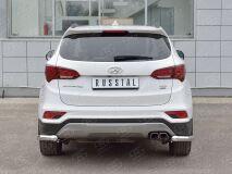 Защита заднего бампера уголки D63 секция для Hyundai Santa FE Premium 2015