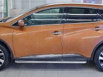 Пороги труба D42 С листом (Лист алюм, проф.сталь)(Вариант2) для Nissan Murano 2016