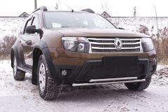Зимняя заглушка решетки переднего бампера (БЕЗ ДХО И БЕЗ ОБВЕСА) Renault Duster 2010-2014