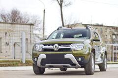 Защитная сетка и заглушка решетки переднего бампера Renault Duster 2015-