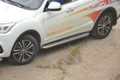 Защита порогов с алюм. площадкой 51 мм (НПС) LIFAN X60 2012+