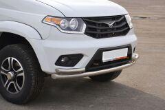 Защита переднего бампера двойная с углами 63/51мм (НПС) UAZ PATRIOT 2014-