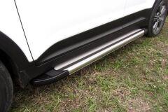 """Пороги алюминиевые """"Luxe Silver"""" 1600 серебристые TOYOTA LC PRADO 150 2014-"""