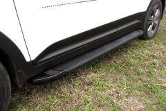 """Пороги алюминиевые """"Optima Black"""" 1600 черные TOYOTA LC PRADO 150 2014-"""