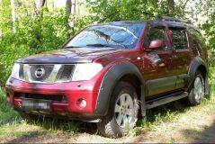 Молдинги на двери широкие Nissan Pathfinder 2004-2013 (R51) ШАГРЕНЬ